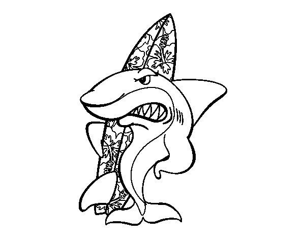 Coloriage De Requin Surfer Pour Colorier