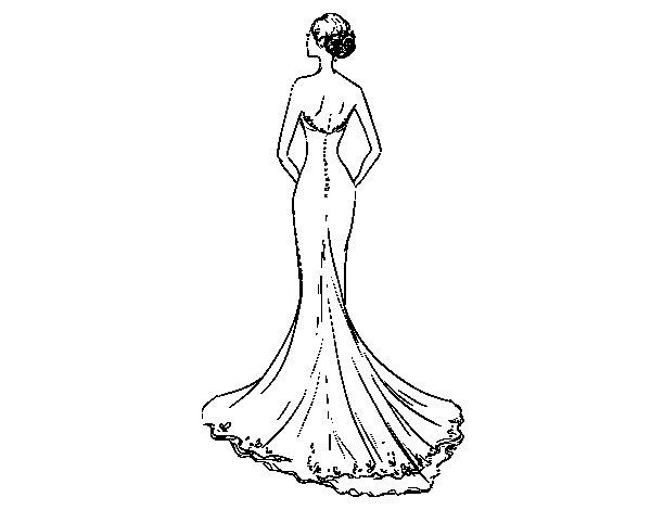 Coloriage de robe de mari e avec queue pour colorier - Coloriage de mariee ...