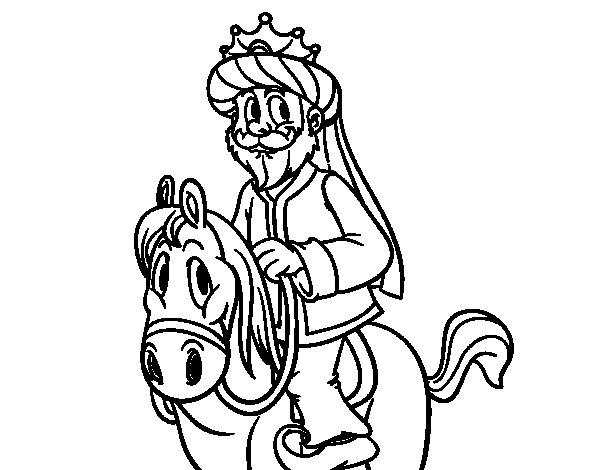 Coloriage de Roi Gaspar à cheval pour Colorier