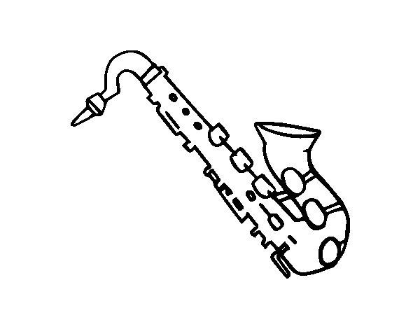 Coloriage de saxophone t nor pour colorier - Saxophone dessin ...