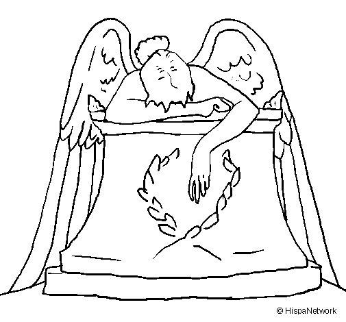Coloriage de Sculpture de l'Ange du cimetière pour Colorier