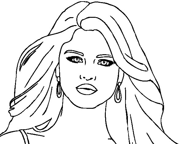 Coloriage de selena gomez premier plan pour colorier - Selena gomez dessin ...