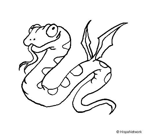 Coloriage de Serpent avec des ailes pour Colorier