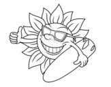 <span class='hidden-xs'>Coloriage de </span>Soleil Surfer à colorier