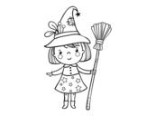 <span class='hidden-xs'>Coloriage de </span>Sorcière fille Halloween à colorier