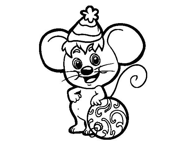 Coloriage de souris avec chapeau de no l pour colorier - Coloriage souris ...