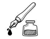 <span class='hidden-xs'>Coloriage de </span>Stylo-plume et encrier à colorier