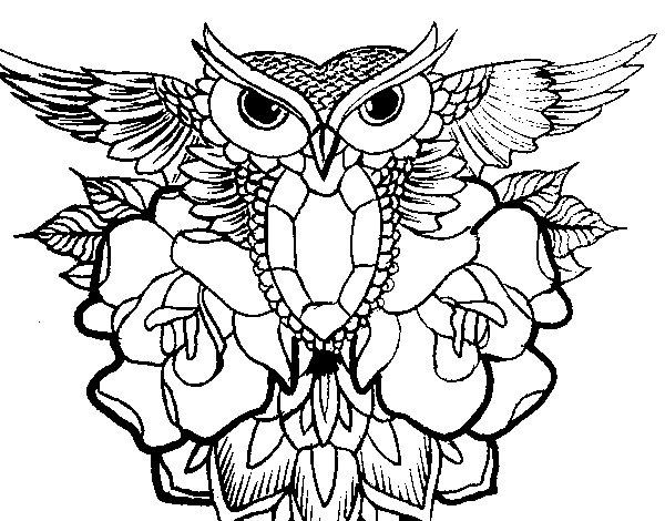 Coloriage de symbole de hibou pour colorier - Coloriage de hibou ...