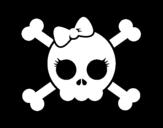 <span class='hidden-xs'>Coloriage de </span>Tête de mort avec ruban à colorier