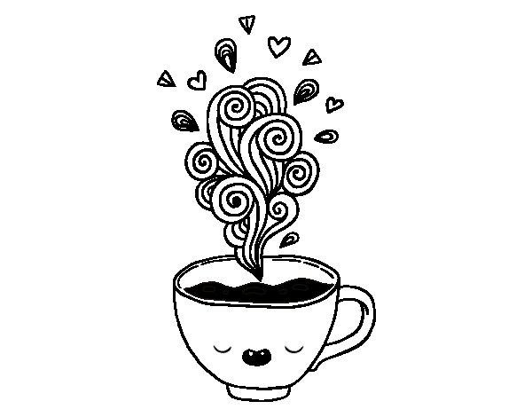 Coloriage de tasse de caf kawaii pour colorier - Dessin tasse a cafe ...
