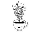 <span class='hidden-xs'>Coloriage de </span>Tasse de café kawaii à colorier