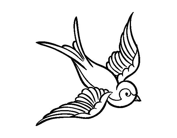 Coloriage de Tatouage d'oiseau pour Colorier
