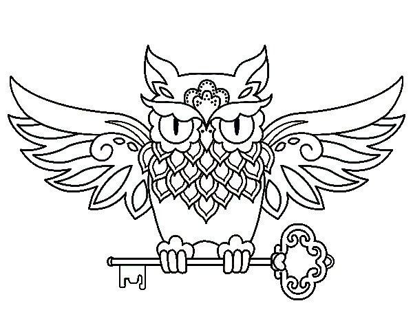 Coloriage de tatouage hibou avec cl pour colorier - Dessins hibou ...