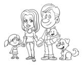 <span class='hidden-xs'>Coloriage de </span>Une famille unie à colorier