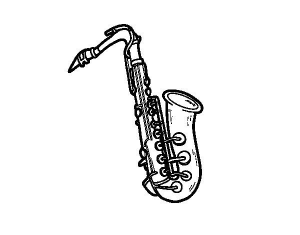 Coloriage de une saxophone t nor pour colorier - Dessin saxophone ...