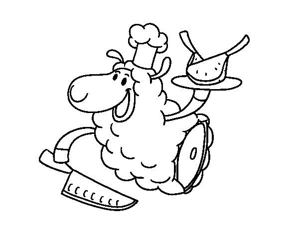 Coloriage de Viande d'agneau pour Colorier