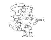 <span class='hidden-xs'>Coloriage de </span>Viking avec grande hache à colorier