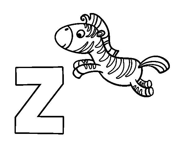 Coloriage de Z de Zèbre pour Colorier