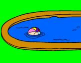 Coloriage Ball dans la piscine colorié par saja