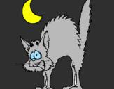 Coloriage Chat effrayé  colorié par nathan