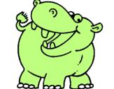 Coloriage Hippopotame colorié par JULES