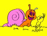 Coloriage Escargot et petite fourmi colorié par JULES