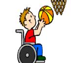 Coloriage Basket en fauteuil roulant colorié par PO