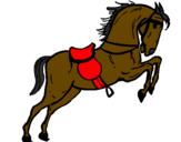 Coloriage Cheval avec chaise qui saute colorié par charlotte