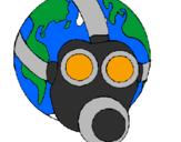 Coloriage Terre avec masque à gaz colorié par JEDD