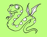 Coloriage Serpent avec des ailes colorié par JULES