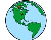 Coloriage Planète Terre colorié par Terre