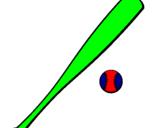 Coloriage Bate de base-ball et Balle de base-ball colorié par justin