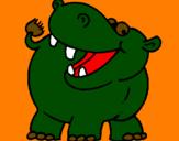 Coloriage Hippopotame colorié par helio
