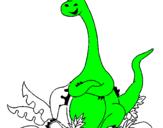 Coloriage Diplodocus assis colorié par Niv