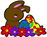 Coloriage Petit lapin de Pâques colorié par justin