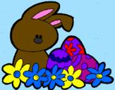 Coloriage Petit lapin de Pâques colorié par maude