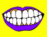 Coloriage Bouche et dents colorié par bob
