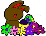 Coloriage Petit lapin de Pâques colorié par lucie