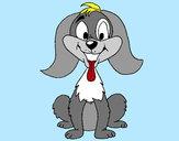 Coloriage Petit chien joueur colorié par emanuel