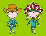 Coloriage Contenu Cowboy et Indien colorié par vava