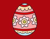 Coloriage Œuf de Pâques avec des fleurs colorié par mastin