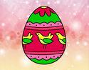 Coloriage Œuf de Pâques avec des oiseaux colorié par KAKE