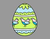 Coloriage Œuf de Pâques avec des oiseaux colorié par mastin