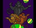 Coloriage Singes faisant des jongleries colorié par KAKE