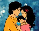 Coloriage Famille étreinte colorié par emogirl