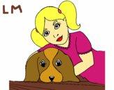Coloriage Fillette embrassant son chien colorié par lomanlou