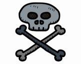Coloriage Tête de mort pirate colorié par ophelie