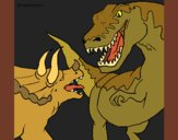 Coloriage Combat de dinosaures colorié par KAKE2