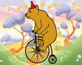 Coloriage Ours sur un vélo colorié par raphael