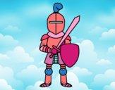 Coloriage Chevalier avec épée et bouclier colorié par ana2
